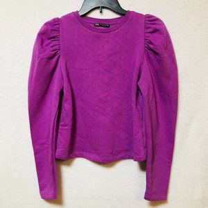 ZARA Purple Cropped Sweater With Puffed Shoulders